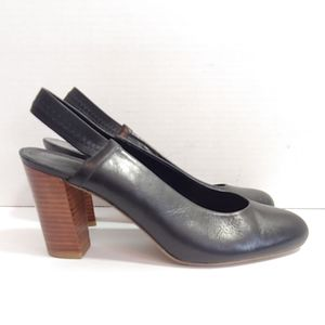 Delman black leather slingback heels